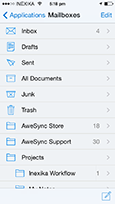 iPhone app - List of Mail folders